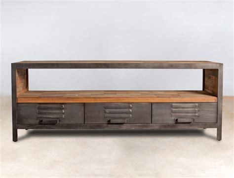 meuble tv en bois recycl 233 s avec 3 tiroirs m 233 tal industryal