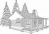 Cabin Drawing Woods Coloring Clipart Clip Facade Template Kissclipart Sketch sketch template