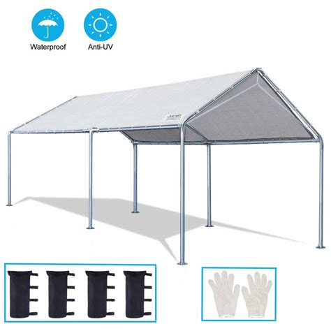 quictent  ft upgraded heavy duty car canopy carport boat shelter   reinforced steel