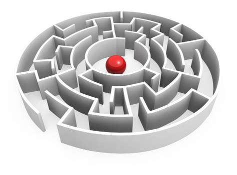 red ball  maze center showing leadership stock photo