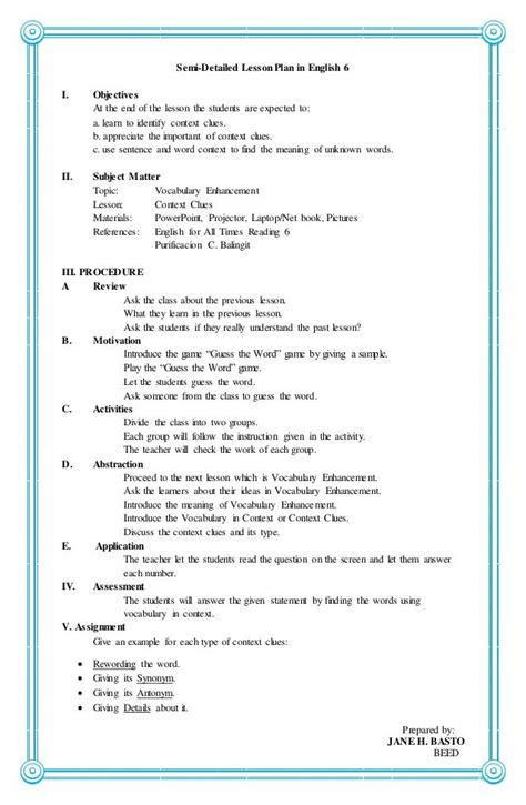 semi detailed lesson plan  english   objectives