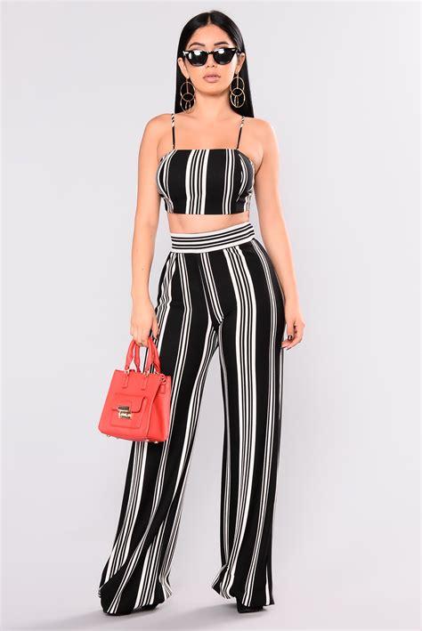 punch line stripe pant set black white