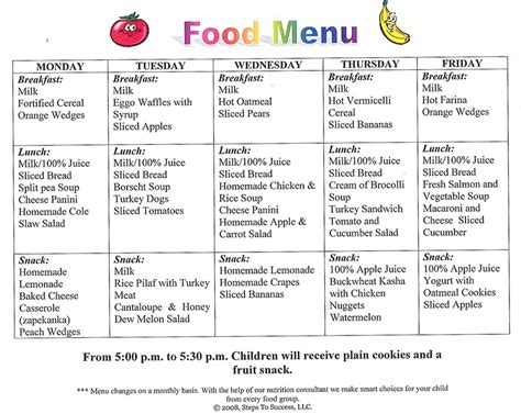 Daycare Food Menu Template by Food Menu Steps To Success Daycare And Preschool