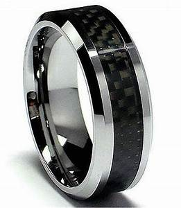 Mens tungsten carbide with carbon fibre inlay wedding for Tungsten carbide mens wedding rings
