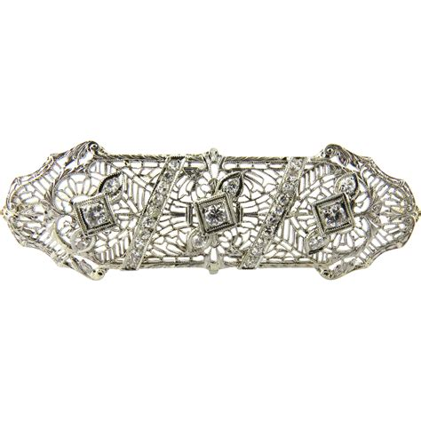 antique art deco ls antique art deco 14k white gold filigree brooch