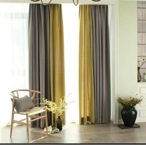 linen gray  yellow curtains drapes living room