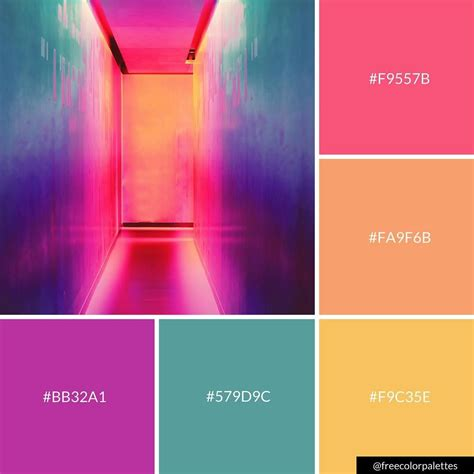 neon rainbow color palette inspiration digital art