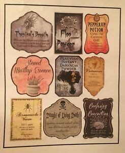 tall lot  apothecary potion labels harry potter