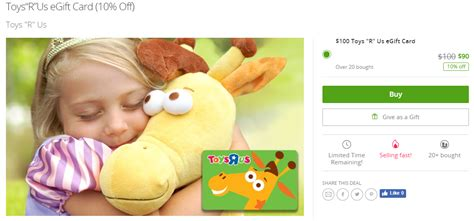 0 Toys 'r' Us Gift Card For  On Groupon, Plus 6% Or More Portal Cashback Popular Gifts For 3 Year Old Boy 2 Toddler Birthday Daughter Inexpensive Cat Lovers Godparents Wedding 7 Olds Her Christmas Nautical Retirement