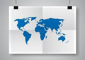 Affiche Carte Du Monde : carte bleue de vecteur calibre de carte du monde deux fois ~ Dailycaller-alerts.com Idées de Décoration
