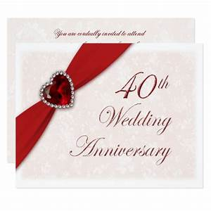 Damask 40th Wedding Anniversary Invitation | Zazzle.com
