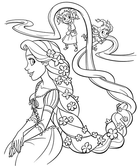 Kleurplaat Rapunzel by Rapunzel Kleurplaten Kinderen Spelen Met Het Haar