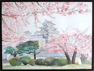 Maison Japonaise Dessin : tableau ch teau d 39 himeji paysage japonais aquarelle aquarelle en 2019 japon paysage ~ Melissatoandfro.com Idées de Décoration