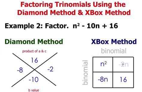 Factoring Trinomials (1x^2  Bx + C) Diamond & Xbox Method Youtube