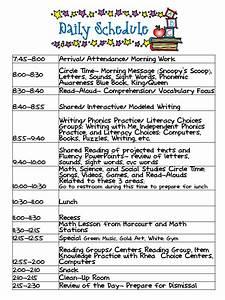 kindergarten celebration daily schedule With preschool classroom schedule template