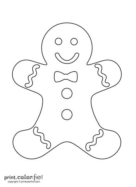 gingerbread man print color fun