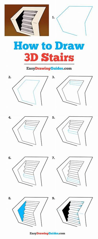 3d Stairs Easy Drawing Draw Step Tutorial