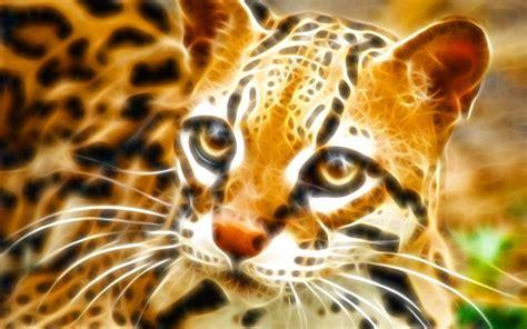 Fractal Animal Wallpaper - wallpapers animals fractal ocelot animal cat 1440x900