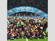 Barcelona players celebrate Champions League title ESPN FC