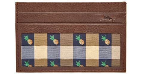tommy bahama pineapple l tommy bahama 39 pineapple 39 card case in brown for men lyst