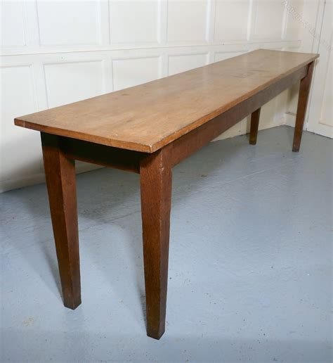 long narrow golden oak farmhouse kitchen table antiques
