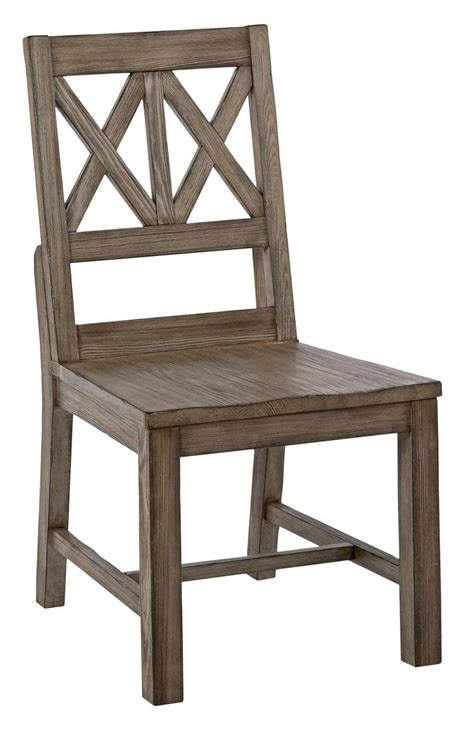 rustic solid wood side chair with weathered gray finish