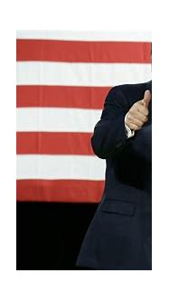 smiley donald trump is showing thumbs up in us flag ...