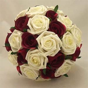 Bridal Bouquets - Burgundy & Ivory Rose Bridal Bouquet