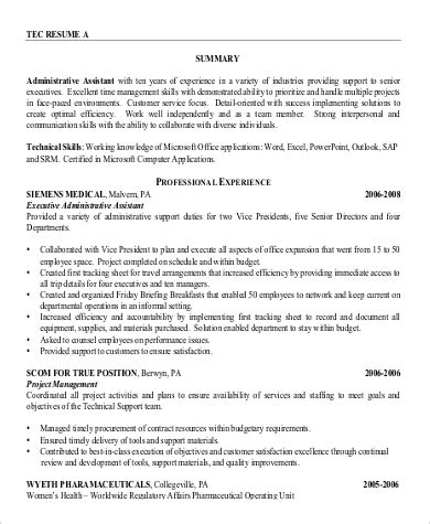 Professional Summary For Administrative Assistant by Resume Summary Statement Exle 9 Sles In Word Pdf