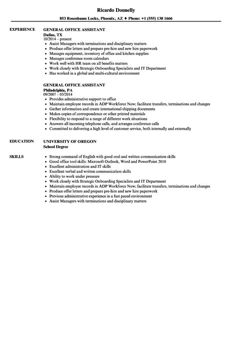Office Assistant Resume by General Office Assistant Resume Sles Velvet