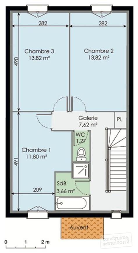 plan maison etage 2 chambres plan maison etage 50m2