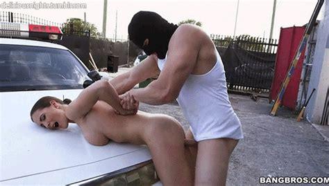 hardcore thug fucks slut cop on the hood of her cruiser s low qu