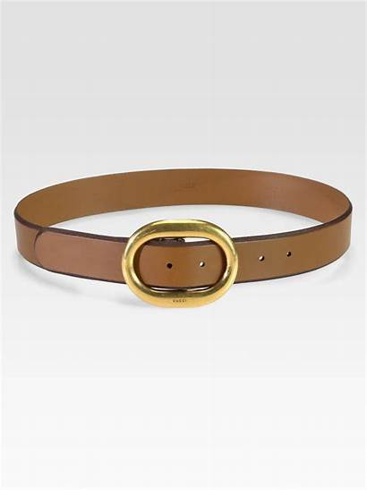 Belt Buckle Gucci Leather Round Brown Natural