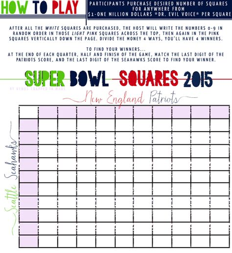 Superbowl Squares Images 2015  New Calendar Template Site