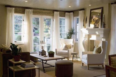 window treatments  wide windows family room farmhouse
