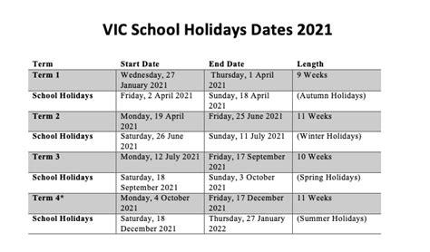 victoria school calendar victoria vic school holidays