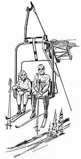 Ski Lift Chair Clipart Coloring Recreation Wpclipart Cartoon Skilift Winter Webp Formats sketch template