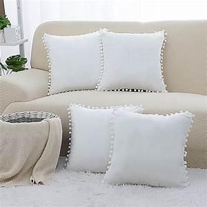 Piccocasa, 4pcs, 16x16, Inch, Soft, Velvet, Cushion, Cover, Pom, Poms, Throw, Pillow, Cover, For, Sofa, Couch