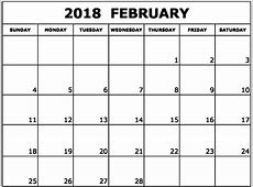 February 2018 Calendar Monthly Calendar Template Letter