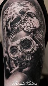44 Day of the Dead Tattoos Gallery! | Girls, Grey tattoo ...