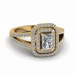 radiant cut diamond deuced halo engagement ring in 18k With radiant cut diamond wedding rings