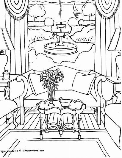 Coloring Pages Interior Adults Adult Rooms Living