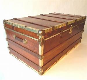 mid century industrial wood steamer trunk coffee and end With industrial trunk coffee table