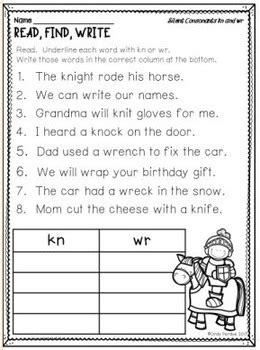 silent letters kn wr gn  reading teachers backpack tpt