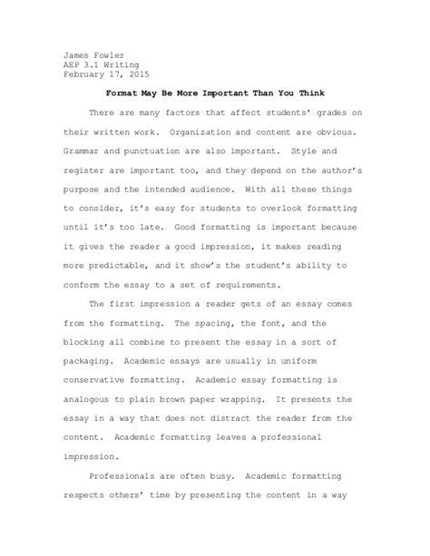 Essay Format by Essay Formatting Exle