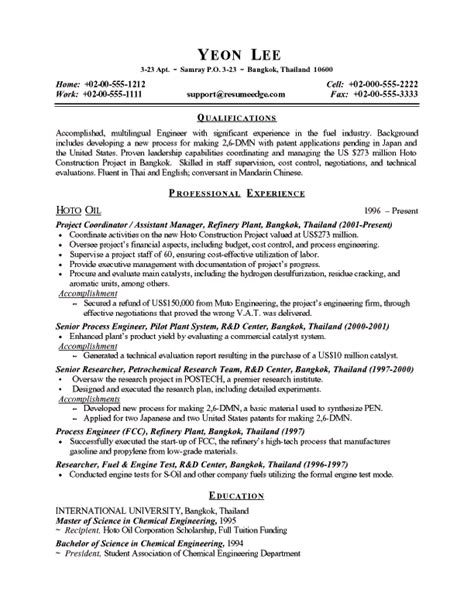 28 objective for engineering resume canada chemical