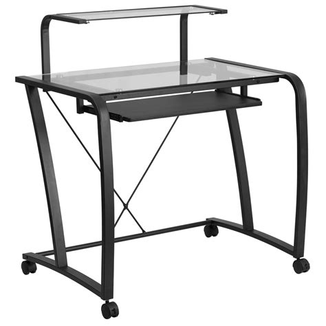 computer desk pull out keyboard shelf flash furniture mobile glass computer desk with pull out
