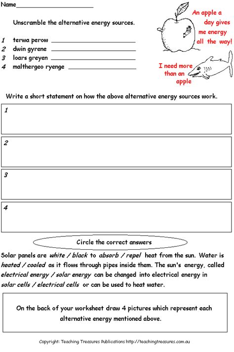 solar worksheet