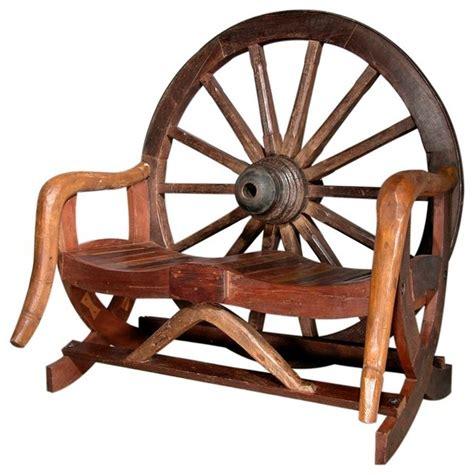 rustic wagon wheel bench in teak rustic outdoor