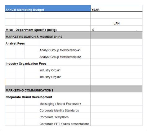 marketing budget template   word excel